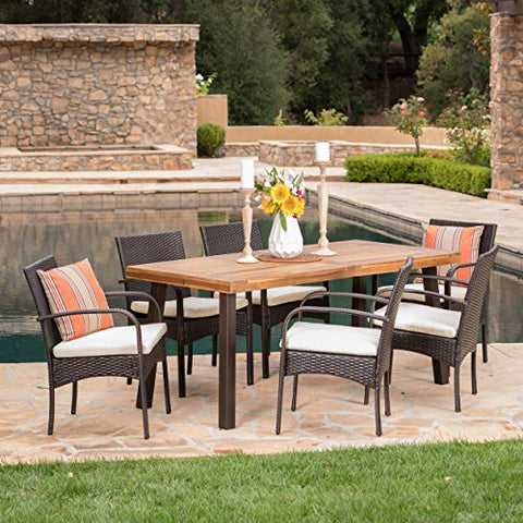 Sebastian | 7 Piece Wicker and Wood Outdoor Dining Set | Perfect For Patio | in Multibrown