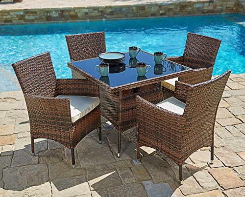 Suncrown Outdoor Furniture All-Weather Square Wicker Dining Table and Chairs (5-Piece Set) Washable Cushions | Patio, Backyard, Porch, Garden, Poolside | Tempered Glass Tabletop | Modern Design