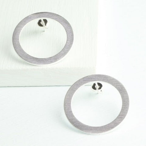 Brushed Silver Circle Outline Earrings
