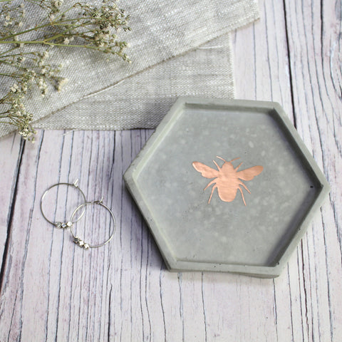 Concrete Hexagon Bee Trinket Dish - Copper