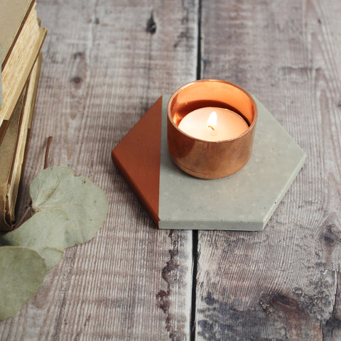 Hexagon Copper Concrete tealight holder