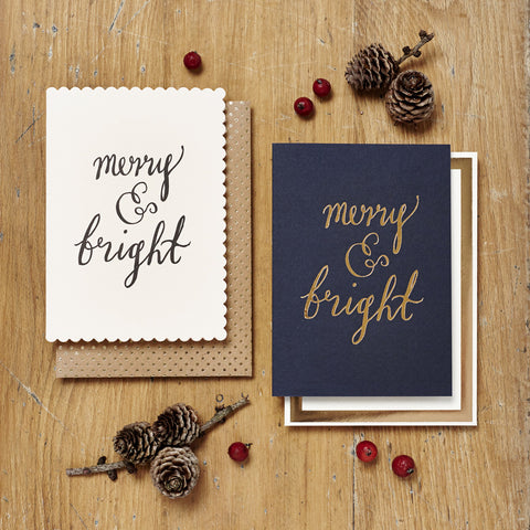 Merry & Bright Card - Pink card with black print