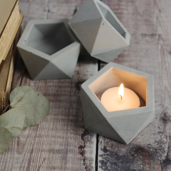 Geometric Concrete tealight holder