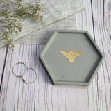 Concrete Hexagon Bee Trinket Dish - Gold