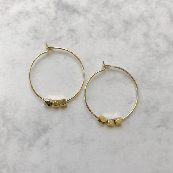 Gold plated beaded hoop earrings