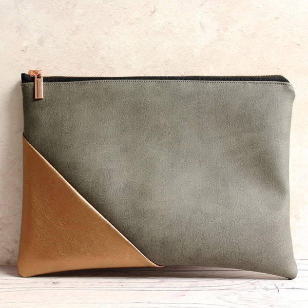 Grey and Metallic Copper Vegan leather pouch