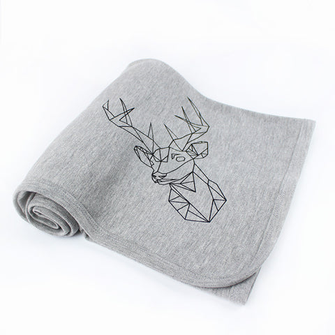 Grey Stag handprinted Baby Blanket