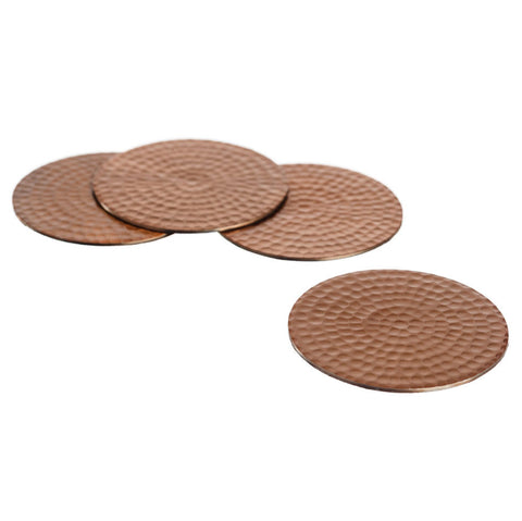 Set of 4 Flat Hammered Copper Coasters