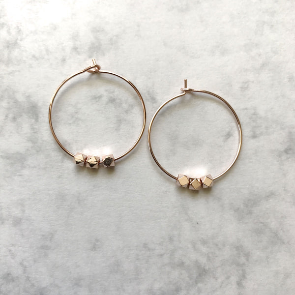Rose gold plated beaded hoop earrings