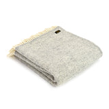 Wool Fishbone Silver Grey Throw
