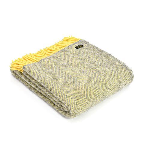 Wool Herringbone Lemon & Silver Grey Throw