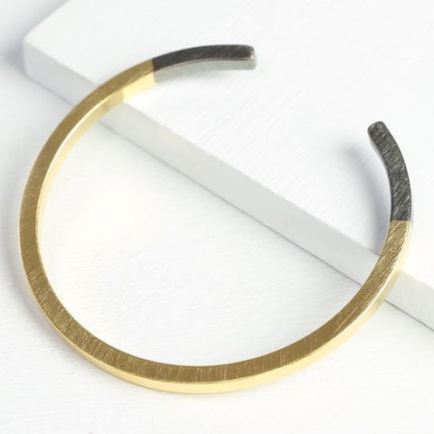 Gold & Black Dipped Bar Bangle