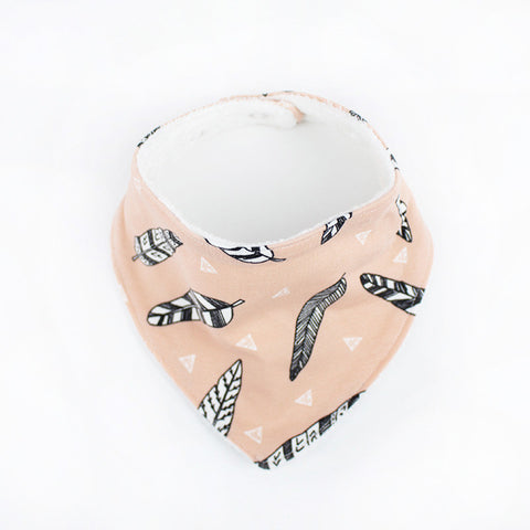 Peach Feather Baby Dribble Bib