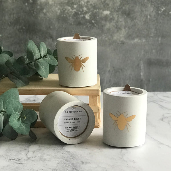 Gold bee Jesmonite Soy Wax Candle
