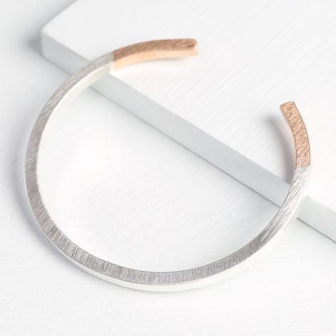 Silver & Rose Gold Dipped Bar Bangle