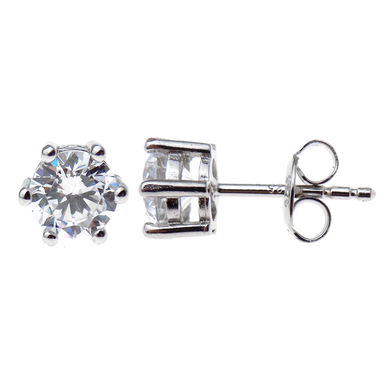 Silver round stud earrings with cubic zirconias - 4mm