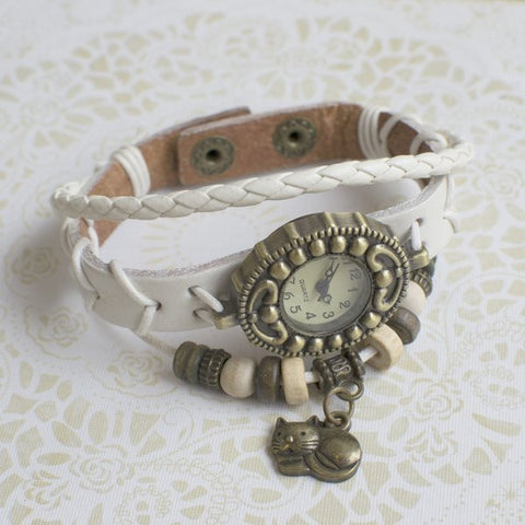 Cat Lovers Charm Leather Watch in Cream/White.
