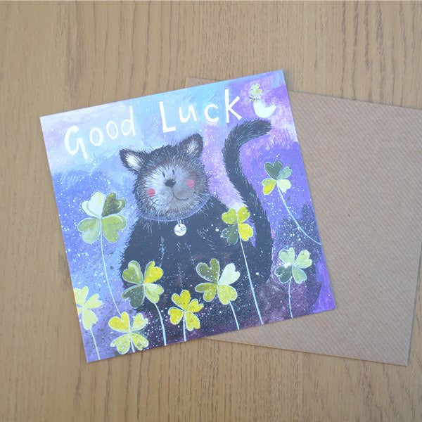 Cute watercolour card by Alex Clark Art.   Measures: 14x 14cm   Comes with kraft coloured envelope.  Black Cat good Luck card wedding new job, fresh start cat lover