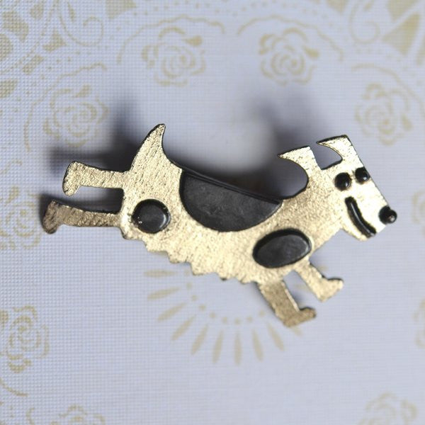 Running Dog Brass Brooch Novelty jewellery for dog lovers