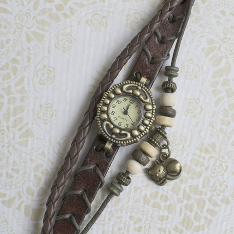 Cat Lovers Charm Leather Watch - Brown.
