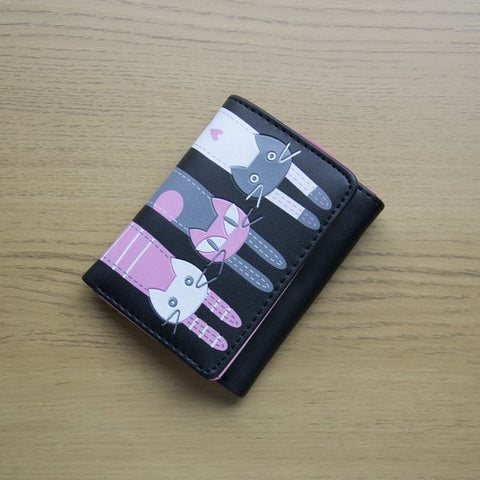 Three Cats Ladies Purse  Wallet in Black and Pink  Card holders, money holder and coin holder all rolled into one.  PU Faux Leather 3 Cats in Pink Grey and White Zipper and stud fastening. cat lovers gift