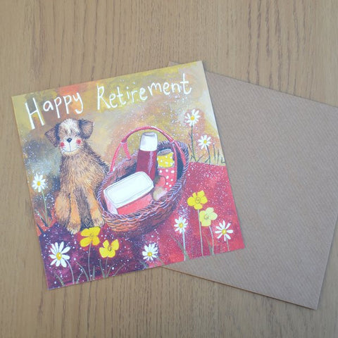 Cute watercolour card by Alex Clark Art.   Measures: 14x 14cm   Comes with kraft coloured envelope.  Dog Lover Retirement
