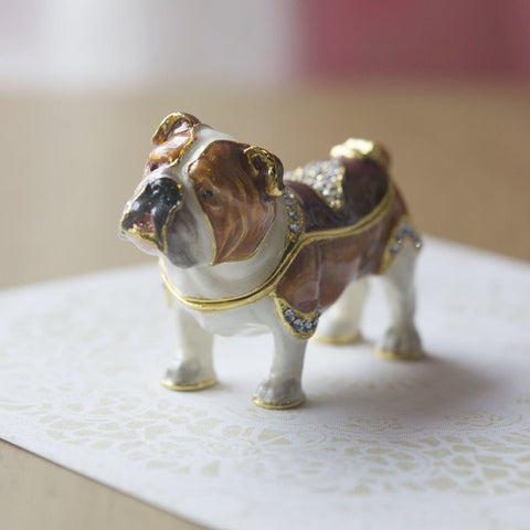 Bull Dog Enamel Box Dog Lover Gift