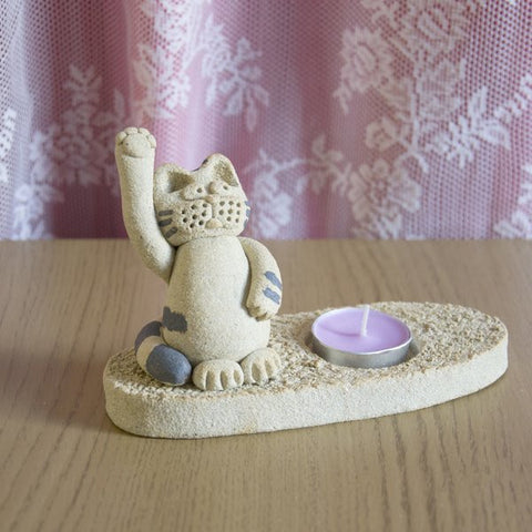 Welcome Cat Candle Holder Methil Moggie Handcrafted Clay Cat Ornament