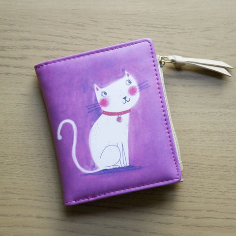 Ladies Pink Purse With White Cat