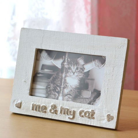 Me & My Cat Wooden Photo Frame.Novelty Cat Lover Gift