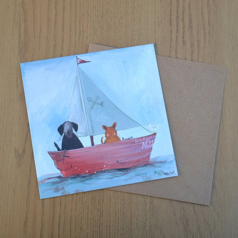 Cute watercolour card by Alex Clark Art.  Cat Dog Lover Card Bon Voyage Measures: 14x 14cm   Comes with kraft coloured envelope.   Ideal as a Bon Voyage.card