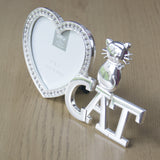 "I heart Cats Photo frame.  Comes in a lovely presentation gift box. Measures: 16cm x 9cm Photo size 3""x 3"" ( 8cm x 8cm)  Glass insert and heart is decorated with crystals. Beautiful and fun photo frame for any cat lover. cat lover gift uk"