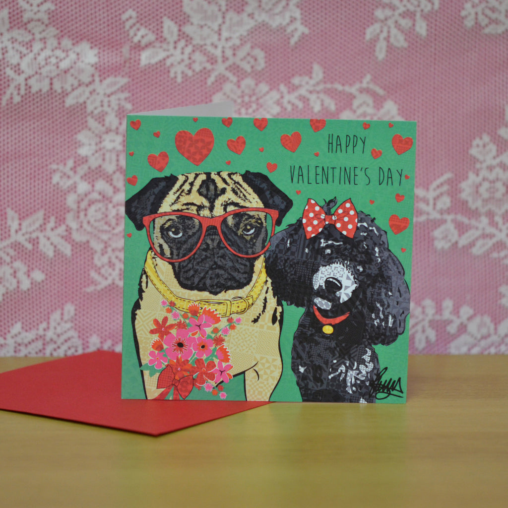 Valentine's Day Card For Dog Lovers Pug Poodle