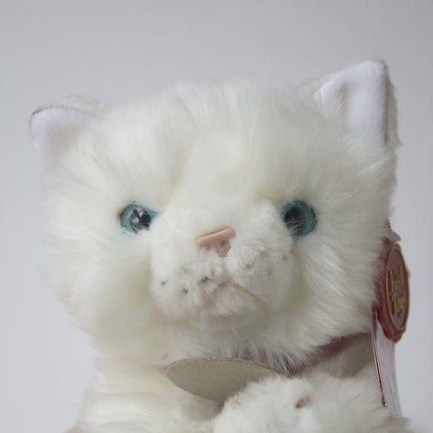 White Cat Cuddly Toy. - Tiffany  Measures 25cm long.  Super cute kitty.  Complete with collar and name tag. Clean with a damp cloth. Not suitable for children under 3. UK Gift for cat Lover