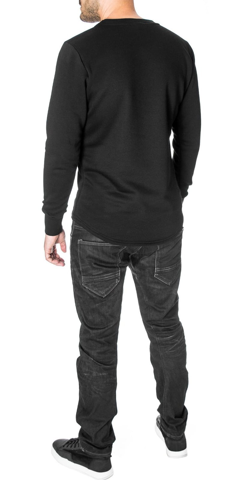 Basic Curved Hem Sweatshirt, Black