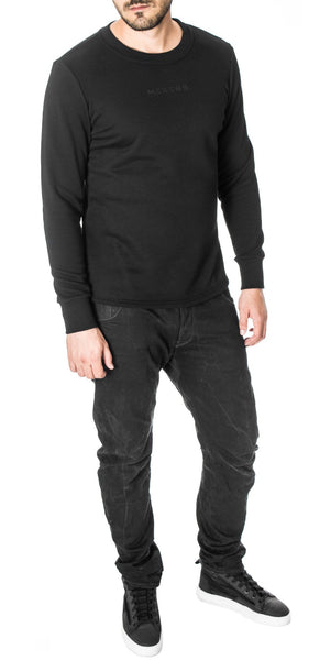Side Zippers Curved Hem Sweatshirt, Black