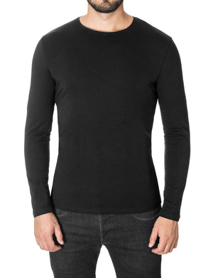 Mens Basic Crew Neck Long Sleeve T-shirt Black (MOD1001LS)