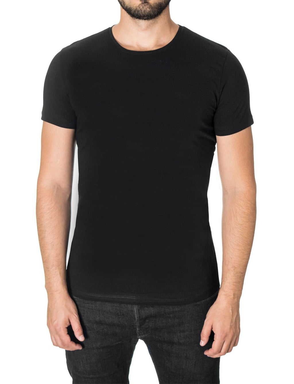Mens basic crew neck t-shirt black (MOD1001RN)