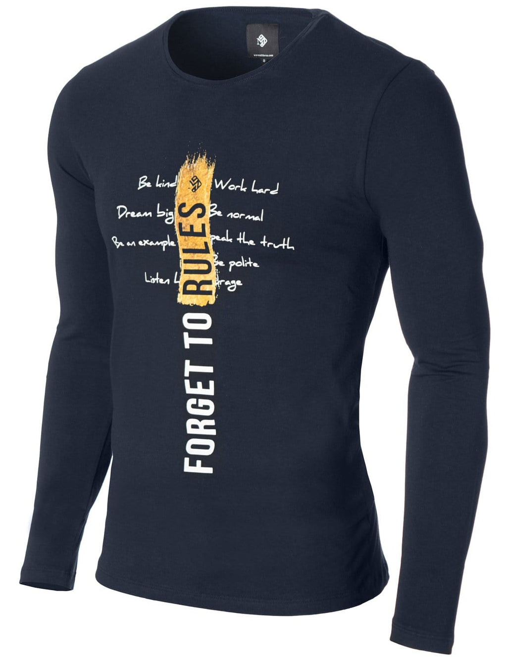 Mens Printed Long Sleeve Slogan T-shirt Navy (MOD1003LS)
