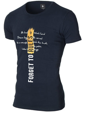 Mens slogan graphic tee navy (MOD1003RN)