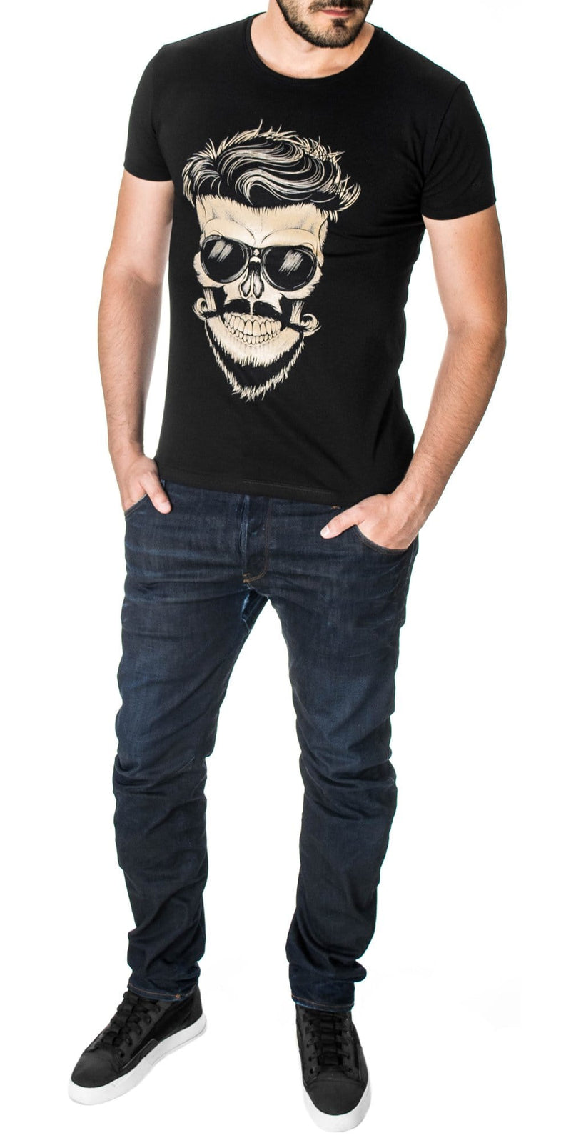 Mens skull graphic tee black (MOD1005RN)
