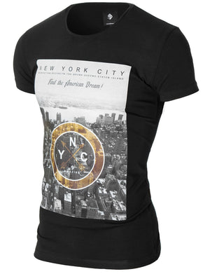 Mens printed t-shirt black (MOD1008RN)