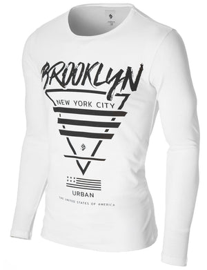 Mens Long Sleeve Brooklyn Print T-shirt White