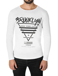 Mens Long Sleeve Brooklyn Print T-shirt White (MOD1009LS)