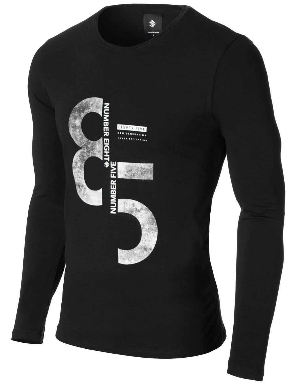Mens Long Sleeve 85 Print T-shirt Black