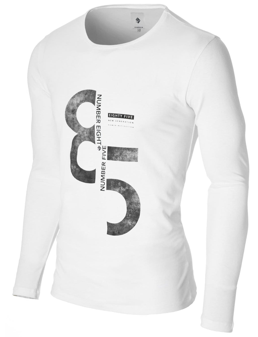 Mens Long Sleeve 85 Print T-shirt White