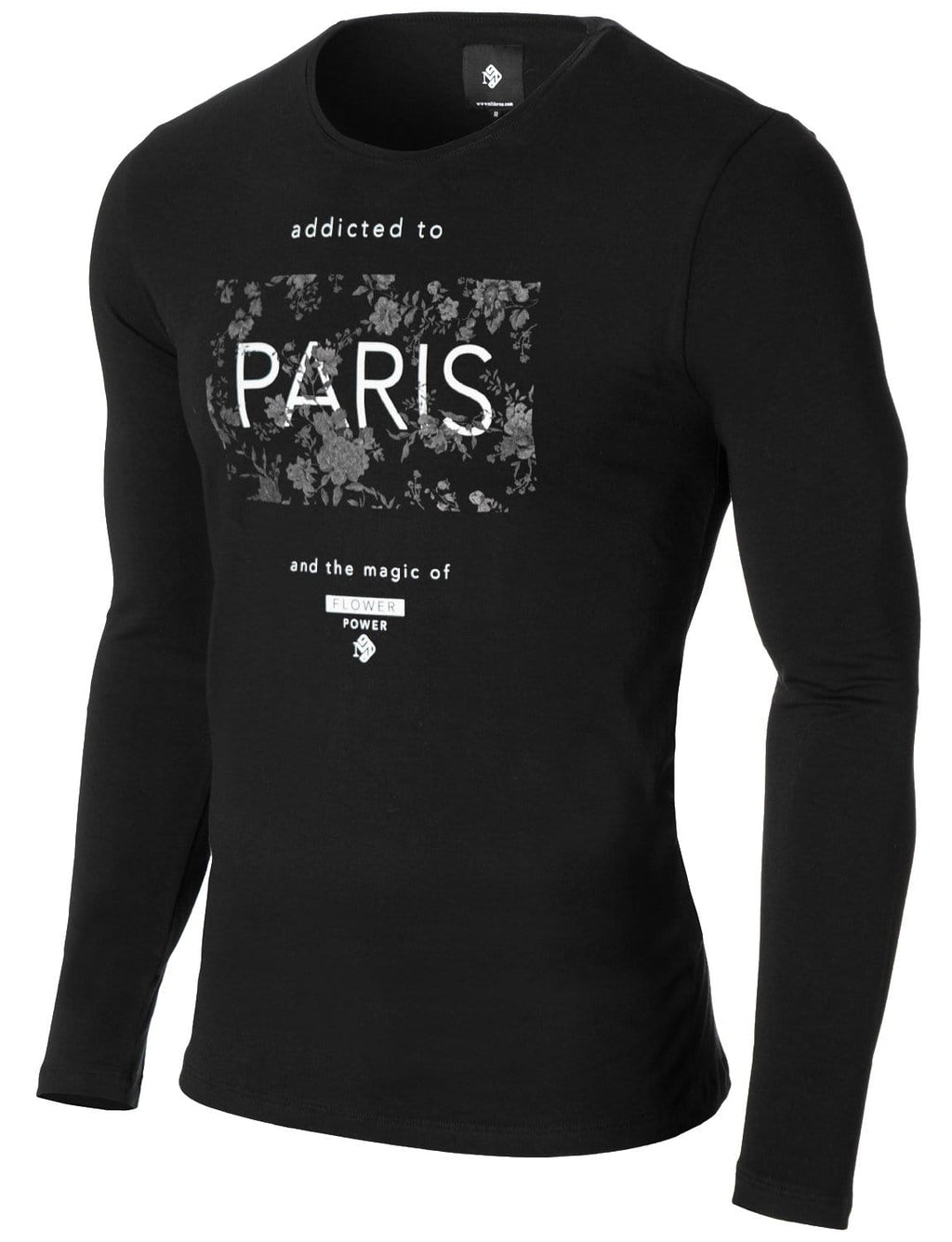 Mens Long Sleeve Paris Print T-shirt Black