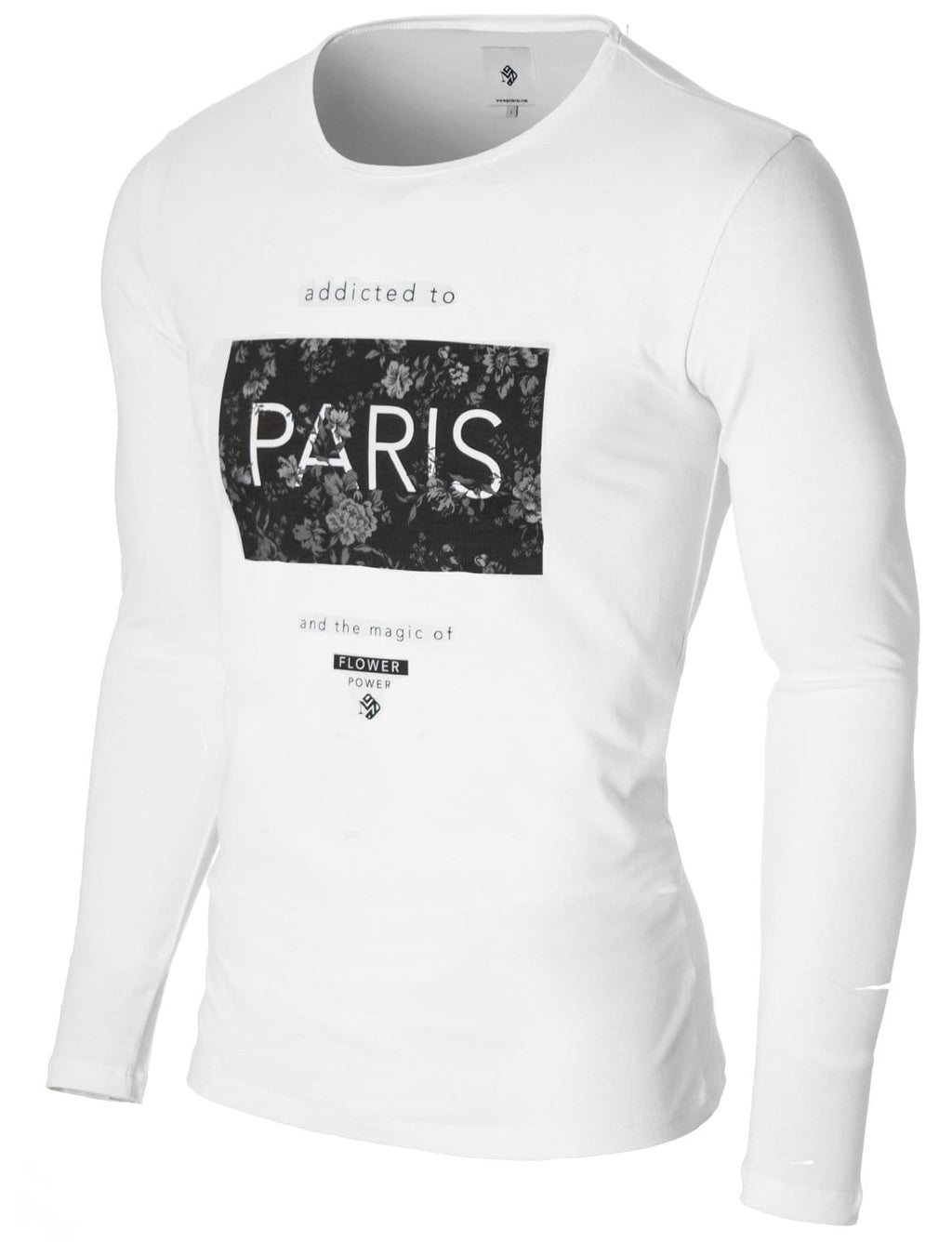 Mens Long Sleeve Paris Print T-shirt White
