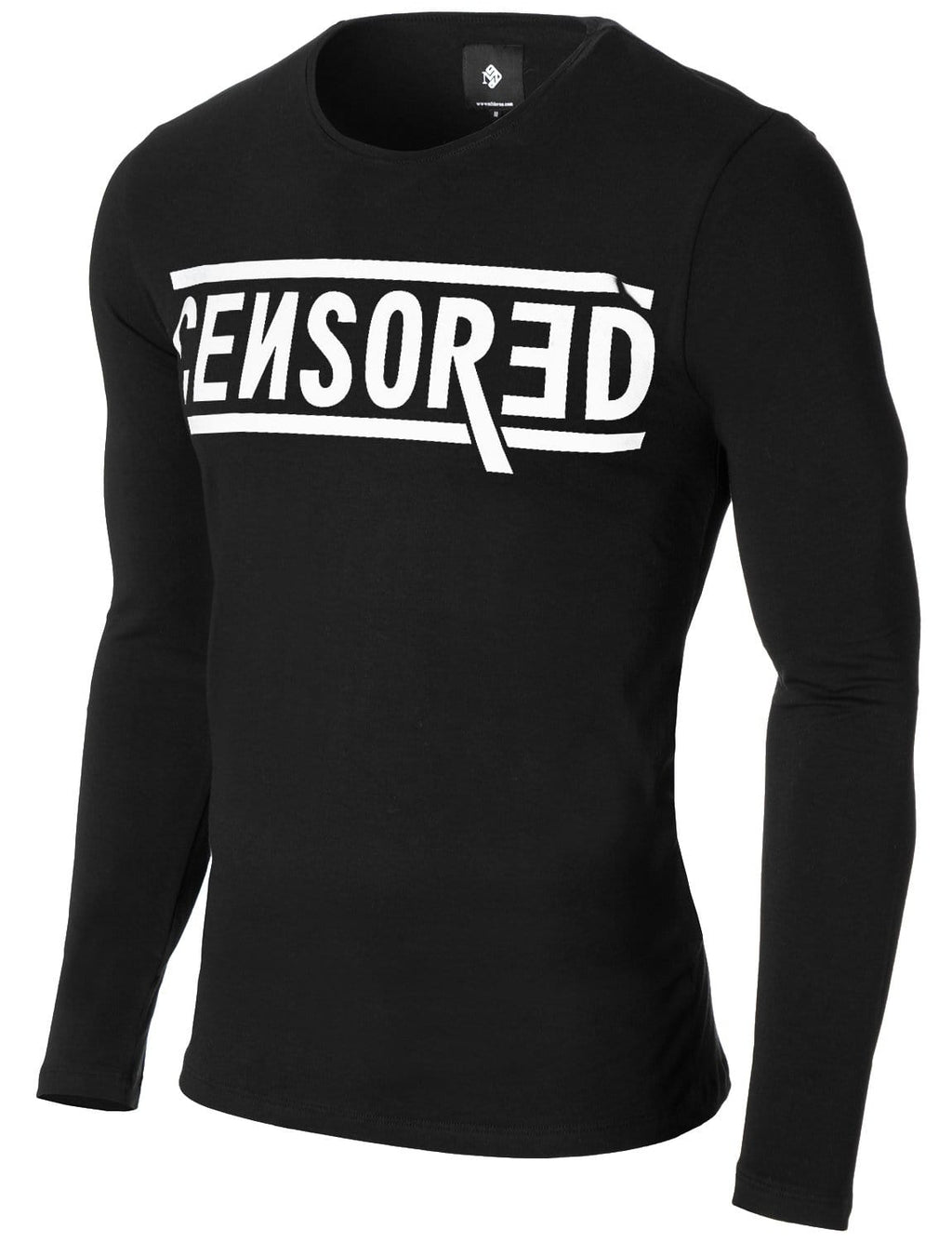 Mens Long Sleeve Censored Print T-shirt Black