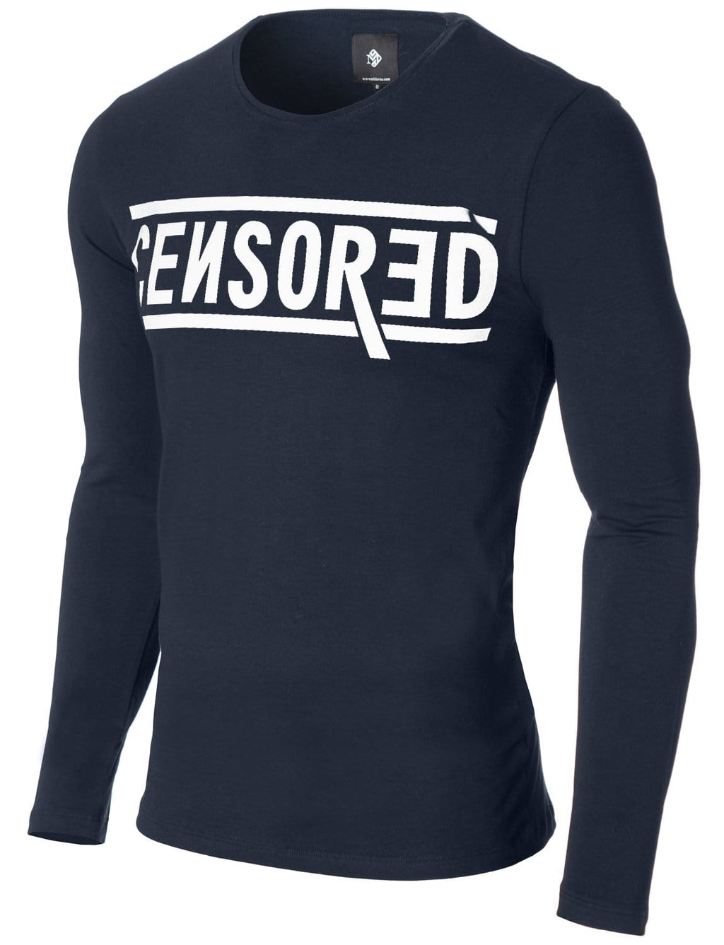 Mens Long Sleeve Censored Print T-shirt Navy